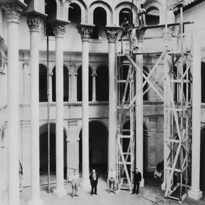 Cluny Capitals installation in progress, scaffolding and columns, black and white photograph