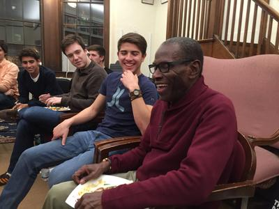 George Cables and (from left) Scott Roberts '19, Richard Feder-Staehle '18, John Miller '19