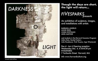 "black and white image and text. Postcard invitation to the exhibition ""Darkness To Light"""