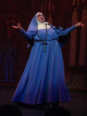 David Sheynberg '16 as Dolores Myshepherd in a Hasty Pudding Theatricals production