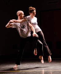 Timothy McCormack PhD '16 and Chelsea Spencer GSD '14 performRelay Circuit Overlay by John Jasperse.  Photo: Liza Voll.