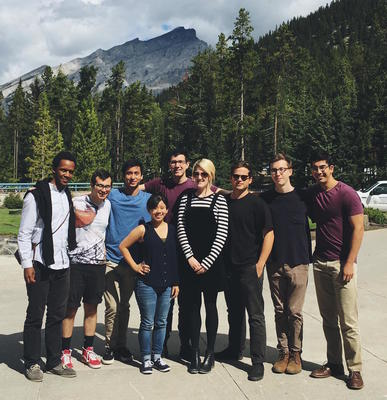 Jacob Gollub '17 (in the blue shirt) in beautiful Banff with friends