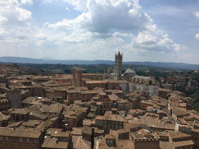 A view from the top of the central clocktower in 'Il Campo'