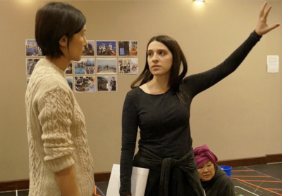 Actor Jiehae Park and director Sammi Cannold in rehearsal for Endlings