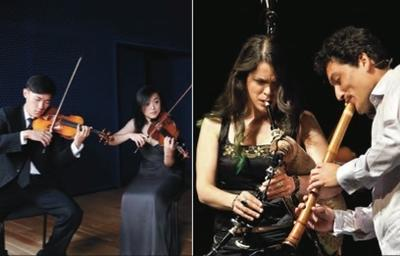 Left: Parker Quartet; right: Silk Road Ensemble