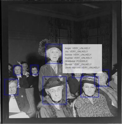 Machine view of Gould photo elderly women at DAR meeting