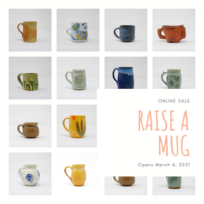 "Grid of photos of mugs with the text ""Raise a Mug Online Exhibition and Sale"""