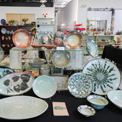 A display of pottery by artist Cyndi Mason at the Spring Show and Sale