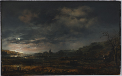 Oil painting, Aert van der Neer, Moonlit Estuary