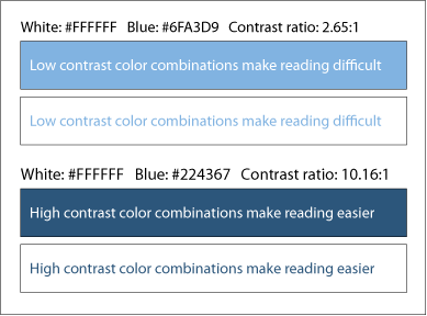 Typography color contrast