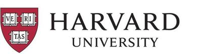 Harvard University logo featuring black, serif text and a red shield emblem