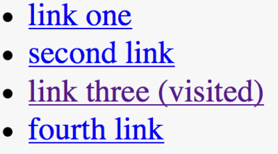List of links with visited link using a conventional purple color