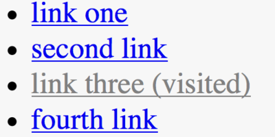 List of links with visited link shown in an unconventional grey color
