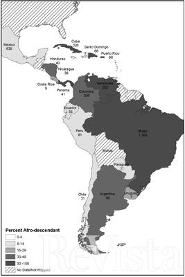 Map 1. Afro-Latin America, 1800. Numbers under country names indicate the size of the black and brown (pardo) population, in 000s. (Map by Lena Andrews.)
