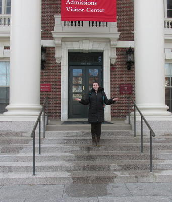Madi gives prospective students tours as a part of her job with the Admissions Office.