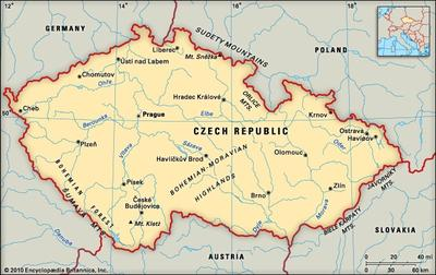 map of the Czech Republic, courtesy of Encyclopædia Britannica, Inc.