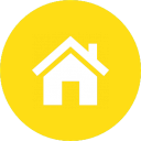 Icon of a house on a yellow background