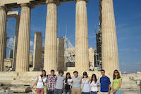Interns at the Parthenon, photo by Ariana Cernius