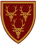 Dunster House red and gold shield with three moose