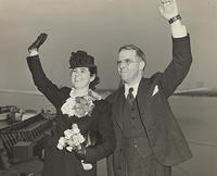 Martha and Waitstill Sharp waving as they leave for Europe (bMS 1446/198)
