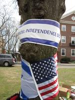 Tree trunk with Israel Independence Day banner and an Israeli and American Flag