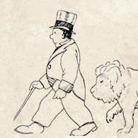 Drawing of Doctor Doolittle and a Lion