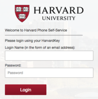 Log in to your Harvard Phone Account