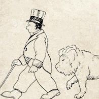 Dr. Dolittle walking a lion.