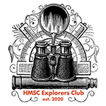 Collection of exploration tools with text: HMSC Explorers Club est. 2020.