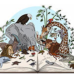 Illustration of animals reading a book together.