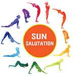 12 positions of the yoga pose, sun salutation with text: Sun Salutation.