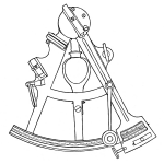 Black and white illustration of an octant.