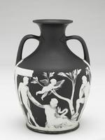 Image of black vase with white motif of two men, one woman, cupid, trees