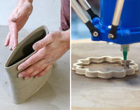 split screen of hands shaping a clay pot and a 3D printer nozzle extruding clay