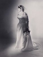 "Robert Gober photograph ""Untitled"" black and white gelatin silver print of woman with wedding dress and bouquet"