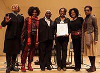 Members of Sweet Honey in the Rock accept the Vosgerchian Award at John Knowles Paine Concert Hall in the Music Building (2/13)