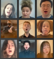 Collage of students singing