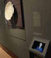 photo of a plate and video in a museum.