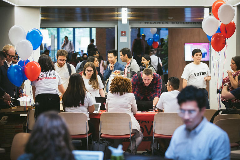 Students and staff work together to register voters in JFK Jr. Forum at Harvard Kennedy School