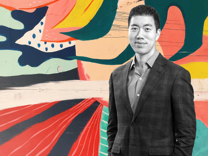 A black and white photo of David Liu superimposed on a colorful background