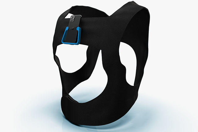 A rendering of what the wearable navigation aid might look like: A black strap for the upper body