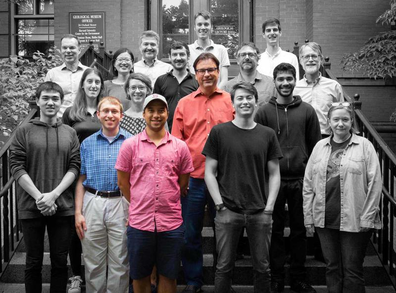 A black and white photo of Keutsch lab members with only Frank Keutsch, Josh Shutter and Josh Cox in color