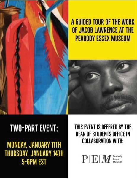 Bright reds, blues, and browns fill a canvas next to a black and white portrait of artist Jacob Lawrence