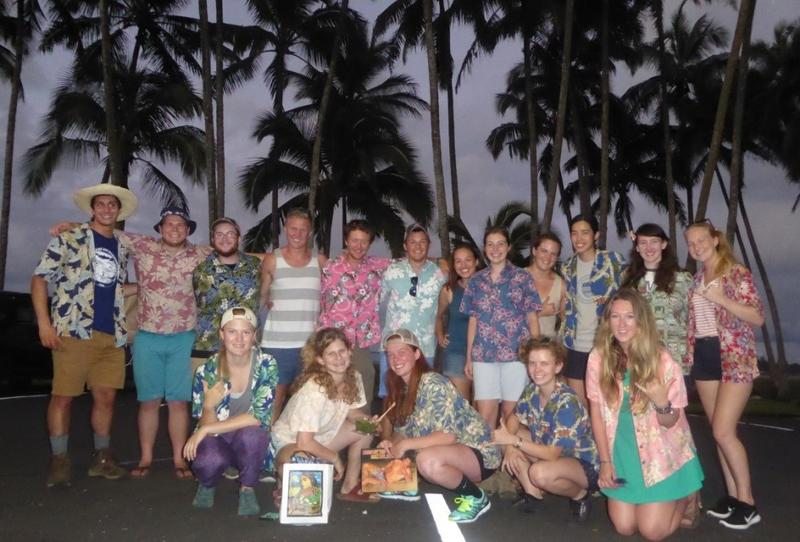 EPS concentrators gather for a group shot in their 'aloha shirts' at the conclusion of the 2016 undergraduate field trip to the Big Island of Hawaii.