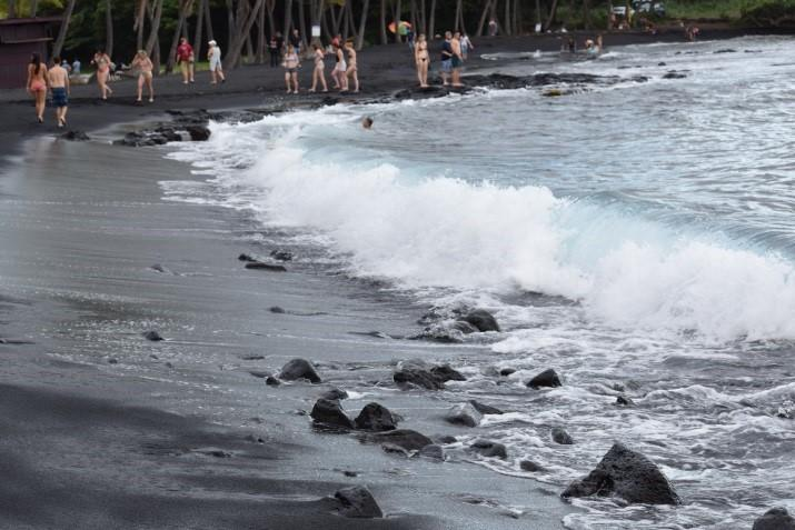 EPS students stroll along the Punalu'u Black Sand beach on the south side of Hawaii.