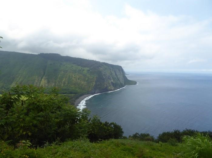 The breathtaking view from the Waipi'o Valley overlook, giving students a sense of how far down (and up!) they would be hiking to reach the valley floor