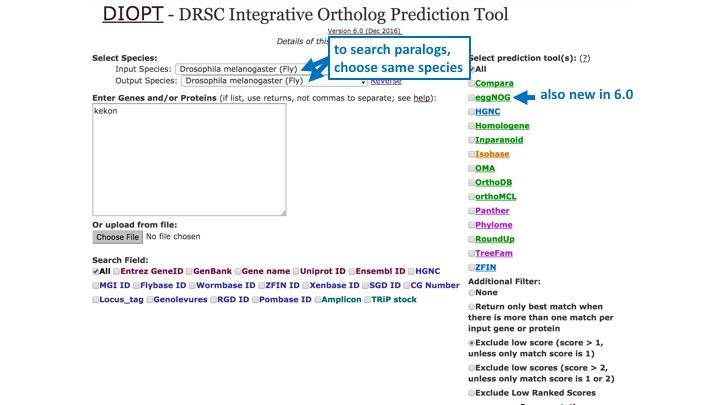 DIOPT 6.0 search page with new features highlighted