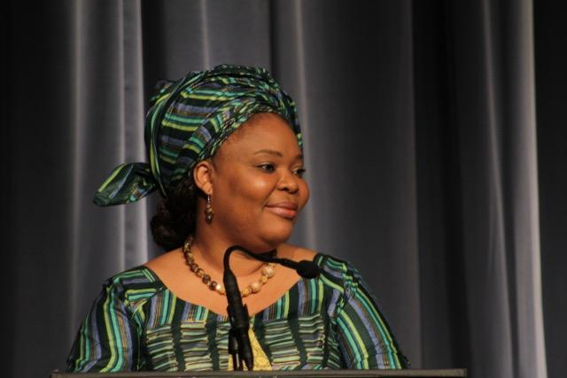 Photograph of Leymah Gbowee giving a speech by Getty Images