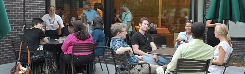 Students outside Rock Cafe
