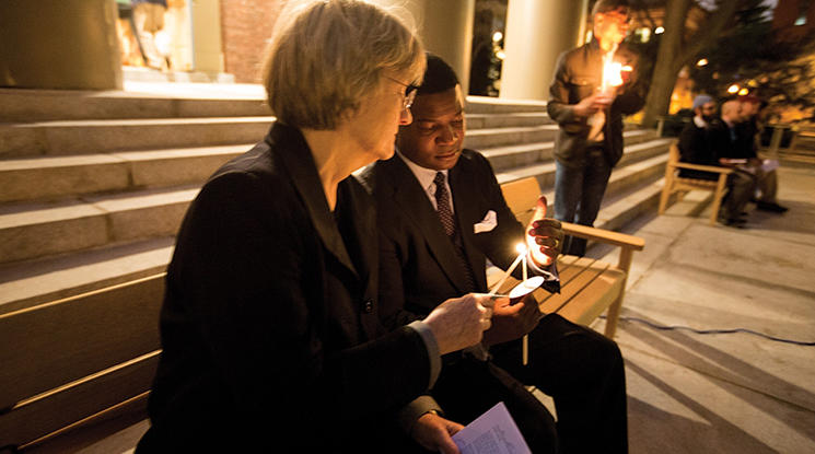 Harvard President Drew Faust and Pusey Minister Jonathan Walton